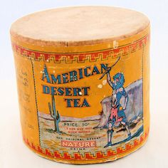 Vintage American Desert Tea Advertising Canister Native American Paper Label Lithograph from on Vintage Box, Canisters, Coffee Cans, Nativity, Art Decor, Deserts, Advertising, Porcelain, Ruby Lane