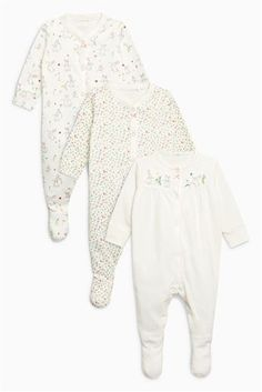 White Floral Bunny Sleepsuits Three Pack (0mths-2yrs)