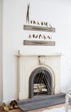 Wood & Feather Wall Decor DIY via Honesttonod.com