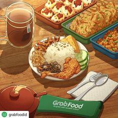 Cute Food Art, Food Sketch, Food Cartoon, Watercolor Food, Food Painting, Food Wallpaper, Food Drawing, Indonesian Food, Food Illustrations