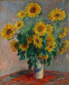 Bouquet of Sunflowers, Claude Monet (French, Paris 1840–1926 Giverny), Oil on canvas Monet Paintings, Impressionist Paintings, Landscape Paintings, Landscape Art, Claude Monet, Vincent Van Gogh, Sunflower Art, Sunflower Paintings, Sunflower Kitchen