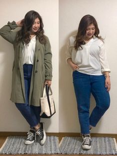 162cm/82kg ぽっちゃりコーデ Twitter*Instagram→pochami1219 Korean Casual, Korean Fashion Casual, Asian Style, Korean Style, Curve Dresses, Big And Beautiful, Fashion Outfits, Womens Fashion, Plus Size Outfits