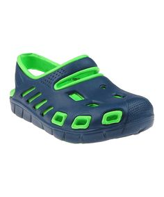 Look at this Navy & Green Two-Tone Clog on #zulily today!