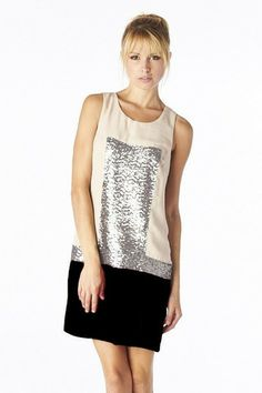 Grand Finale Sequin Color Block Dress - Lt. Taupe + Black - $50.00 | Daily Chic Dresses | International Shipping