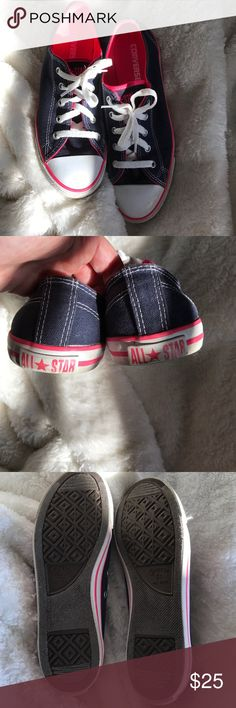 Converse blue & hot pink Converse blue & hot pink. Like new. Converse Shoes Sneakers