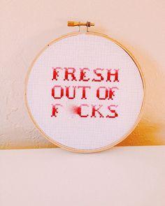 Fresh out of fcks  5 cross stitch by CrossKitch on Etsy