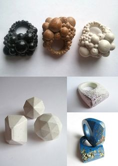 Jade Mellor creates sculptural resin rings, inspired by fossils, minerals, geometry and more.