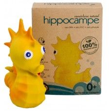 Yellow seahorse squeaky toy by Lanco. All natural rubber, 5