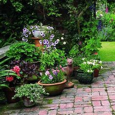 small gravel patio with potted plants - Bing images