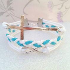 Infinity BraceletCross BraceletWhite Wax Cords and by Punkpark, $6.99