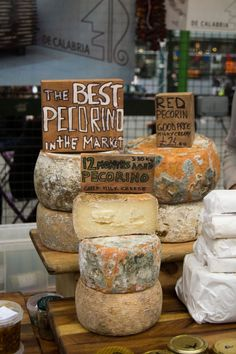 Market cheeses. Love those handmade signs.