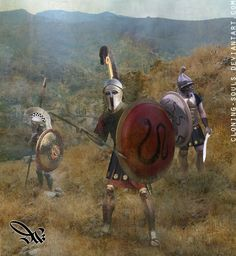 'Classical era hoplites with 2 'Corinthian' style helmets on the left and a 'Thracian' style helmet on the right. Ancient Armor, Medieval Armor, Sparta Greece, Historical European Martial Arts, Greek Warrior, Greek Art, Fantasy Paintings, Fantasy Armor, Corinthian