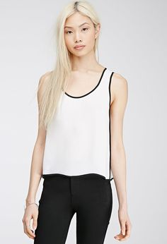Contrast-Trimmed Chiffon Top   Forever 21 - 2000135498