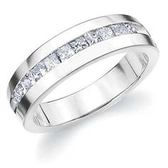 This exquisite men's princess cut diamond band features eleven channel set diamonds for a stunning look. Customize your own with Eternity Wedding Bands. Eternity Ring Diamond, Diamond Bands, Diamond Cuts, Eternity Rings, Princess Cut Rings, Princess Cut Diamonds, Wedding Ring For Him, Wedding Bands, Wedding Ideas