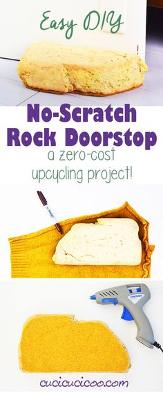 Easy and Free DIY No-Scratch Rock Doorstop - Cucicucicoo : Need a quick fix to keep the doors in your home from slamming shut? This DIY no-scratch rock doorstop with repurposed items is free and only takes 1 minute to make! Stone Crafts, Rock Crafts, Fun Crafts, Diy And Crafts, Crafts For Kids, Craft Tutorials, Craft Projects, Craft Ideas, Diy Porch