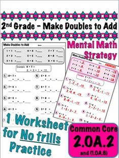 """This is a no frills exercise designed specifically to address the """"creating equivalent but easier known sums"""" mental strategy for these Common Core standards Fifth Grade Math, 2nd Grade Teacher, Math Teacher, Second Grade, Teaching Schools, Teaching Math, Mental Math Strategies, Daily 5 Math, Primary Maths"""