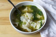 chicken wonton soup - add soy sauce and mirin to doctored stock. work on wonton folding