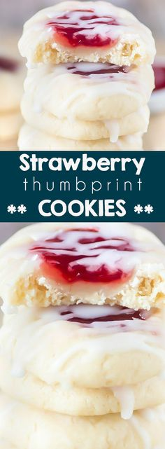 Strawberry Thumbprint Cookies - L. Schleifchen - Strawberry Thumbprint Cookies Strawberry Thumbprint Cookies - The BEST strawberry thumbprint cookies recipe EVER. These almond sugar cookies with strawberry jam are a Christmas cookie classic! Almond Sugar Cookies, Sugar Cookies Recipe, Yummy Cookies, Sugar Cookie Bars, Chocolate Cookie Recipes, Best Cookie Recipes, Holiday Recipes, Cake Recipes, Delicious Cookie Recipes