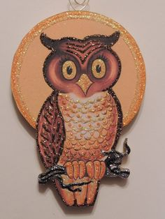 Big Eyed Owl on Branch Harvest Moon Glittered Halloween Ornament Vtg Card IMG | eBay