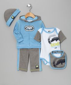 Take a look at this Blue & Olive Zip-Up Hoodie Set by Blow-Out on #zulily today! Great #fall look for baby!