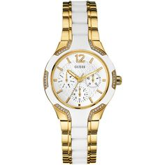GUESS White And Gold-Tone Feminine Watch ($165) ❤ liked on Polyvore featuring jewelry, watches, white watches, guess watches, guess jewellery, white dial watches and white jewelry
