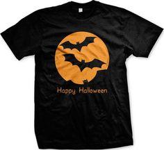Happy Halloween Flying Bats Full Moon Mens T-shirt Cheap Easy Halloween Shirt B . Cheap Easy Halloween Costumes, Spooky Costumes, Pumpkin Halloween Costume, Halloween Shirt, Happy Halloween, Halloween Ideas, Cheap Shirts, Funny Tees, Bats