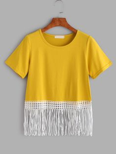 Shop Yellow Contrast Fringe Lace Trim T-shirt at ROMWE, discover more fashion styles online. Kurti Designs Party Wear, Latest T Shirt, Tee Online, Lace Trim, Tees, Shirts, Tunic Tops, Crop Tops, Clothes For Women
