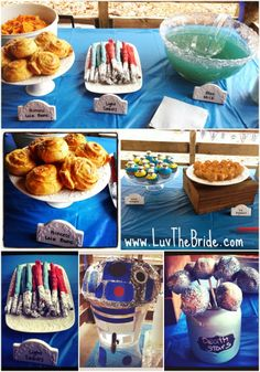 Star wars themed birthday party - R2D2 Lightsabers Blue Milk Princess Leia buns Tie Fighters Death Star Cake Pops