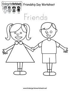 Easily print our Friendship Day worksheet right in your browser. It is a free kindergarten holiday worksheet. Preschool Friendship, Friendship Crafts, Friendship Lessons, Friendship Activities, Happy Friendship, Free Preschool, Preschool Classroom, Kindergarten Worksheets, Preschool Activities