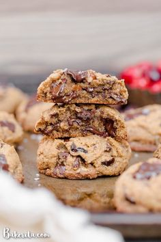 Cranberry Pecan Chocolate Chip Cookies are perfectly chewy with crispy edges, and best when warm - I recommend devouring one of these paleo and vegan cookies straight from the oven. Healthy Chocolate Chip Cookies, Gluten Free Chocolate Chip Cookies, Gluten Free Cookies, Paleo Cookies, Chip Cookie Recipe, Cookie Recipes, Cranberry Cookies, Keto, Healthy Dessert Recipes