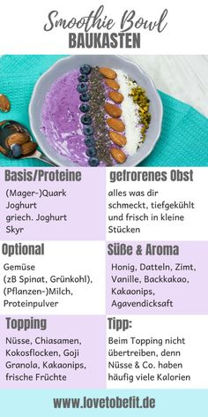 Purple protein smoothie bowl - without protein powder - lovetobefit. - Purple protein smoothie bowl – without protein powder – lovetobefit. Protein Smoothies, Fruit Smoothies, Smoothie Proteine, Smoothie Recipes, Shake Recipes, Bol Buddha, Smothie Bowl, Exotic Food, Crunches