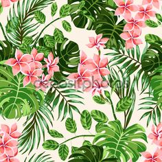 Seamless exotic pattern with tropical leaves and flowers . Vector illustration
