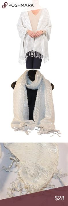 Jessica McClintock Metallic Dressy Shawl Wrap A check textured woven fabric styled with a metallic finish adds a shimmering touch to your style in this sophisticated fringe-trimmed shawl from Jessica McClintock.  Never worn! Fringed edges 21.5in W x 72in L Viscose Perfect addition to any formal event! Jessica McClintock Accessories Scarves & Wraps