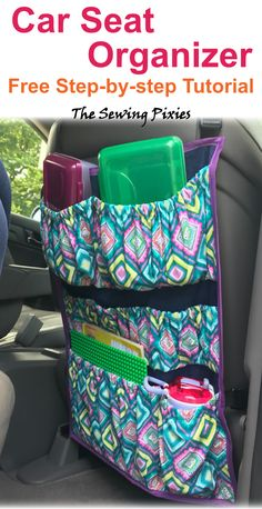 Learn how to sew a car seat organizer with this free tutorial. Keep your car clean and organized with this car seat organizer. Diy Sewing Projects, Sewing Projects For Beginners, Easy Diy Projects, Sewing Hacks, Sewing Tutorials, Sewing Tips, Sewing Ideas, Sewing Crafts, Bag Patterns To Sew