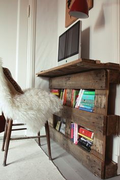 pallet desk — under bay window, but shorter. And must find way to secure in wall w/o bolts (?)