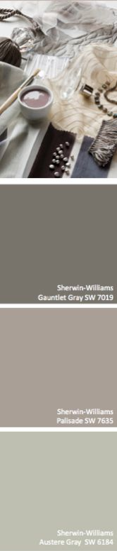 Sherwin-Williams Gauntlet Gray (SW 7019), Palisade (SW 7635), Austere Gray (SW 6184)