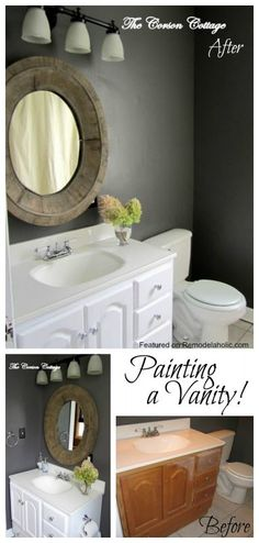 Painting Bathroom Cabinets Black bathroom vanity makeover with chalk paint | paint bathroom