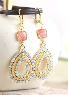 White Rhinestone and Grapefruit Pink Statement Earrings in Gold. Gift. Dangle. Coral Dangle Earrings. Big Earrings. Modern. Gift.