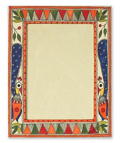 Madhubani photo frame, 'Indian Peacock' (5x7) by NOVICA