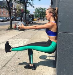 """""""JoJa: the wall chair pose! amp it up a notch with one leg raised and holding a…"""