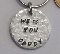 Daddy key chain fathers day keychain hand stamped gift for #maggiemaybecrafty