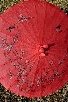 "Paper Parasols 32"" Red Cherry Blossom & Bird Parasols"