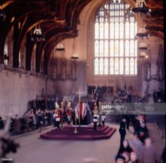 View of the coffin of Winston Churchill (1874-1965) lying in state in Westminster Hall with Guards at each corner, London, January 1965.
