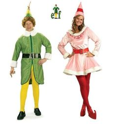 Elf - Buddy & Jovi Adult Couple Costume Set With Wig | Shop Halloween Costumes | Party Costumes | Couples | Zombie Infested World | http://www.zombieinfestedworld.com/halloween-costumes-for-couples.html #halloween #Christmas #Holidays #costumes #elves #parties