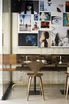 Concrete, wood, light and big pictures. Like this