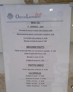 Lunch menu in Milan city centre