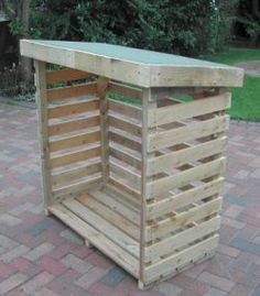 You want to build a outdoor firewood rack? Here is a some firewood storage and creative firewood rack ideas for outdoors. Outdoor Firewood Rack, Firewood Shed, Firewood Storage, Diy Log Store, Wood Store, Diy Pallet Projects, Wood Projects, Log Shed, Bin Store