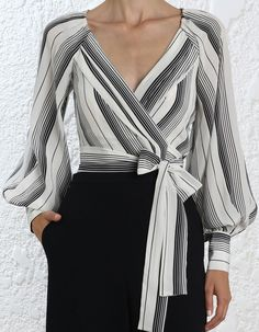 Designed the be fitted across the bust Those with a C cup or above may wish to take the one size upOur model is 5 9 5 178 cm bust size and is wearing a size 0 Australian Fashion Designers, Church Fashion, Clothes 2019, Lace Evening Dresses, Stripes Fashion, Wrap Blouse, Fashion Lookbook, Summer Wardrobe, Blouse Designs