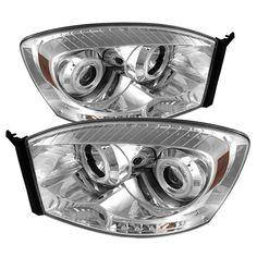 Dodge Ram 1500/2500/3500 2006-2008 Ccfl LED Projector Headlights  - Chrome