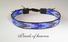 bead loom schmales gewebtes Armband mit Miyuki Delicas in 4 Lilatönen